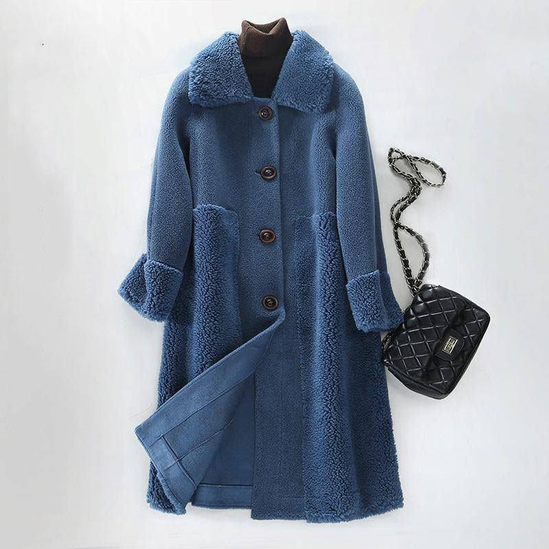 Women 2021 Winter Real Fur Coat Soft Natural Sheep Shearing Wool Jacket Female Plush Genuine Lamb Fur Liner Overcoat Hiver Coat