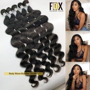 Image 4 - FDX corps vague paquets 1/3/4 pièces 30 32 34 36 38 40 pouces paquets 100% cheveux humains brésilien cheveux armure paquets Remy Extensions de cheveux