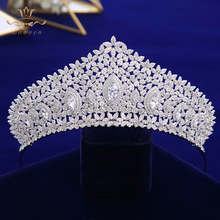 European Royal Oversize Silver Tiaras Crowns Gifts for Brides Full Zircon Wedding Hairbands Crystal Wedding Hair Accessories top quality sparkling zircon oversize royal queen hairbands gold tiaras crowns crystal wedding hair accessories gift for brides