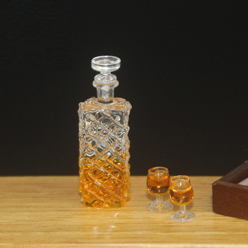 1:12 Dollhouse Miniature Accessories Mini Wine Bottle Set Simulation Drinks Model Toys For Doll House Decoration Whiskey Wine