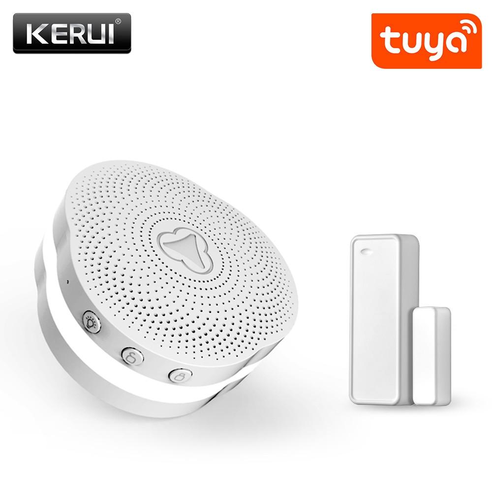 KERUI Wireless Smart Home Gateway Alarm System Tuya APP Controls Intelligent Nightlight Security System Intelligent Doorbell
