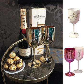 2pcs Wine Champagne Coupes Cocktail Glass MOET Champagne Flutes Plating Wine Cup Goblet Electroplated Plastic Cups