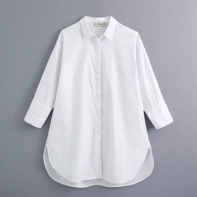 New 2020 women simply style buttons decoration casual white poplin blouse office lady side split shirts chic blusas tops LS6562 1