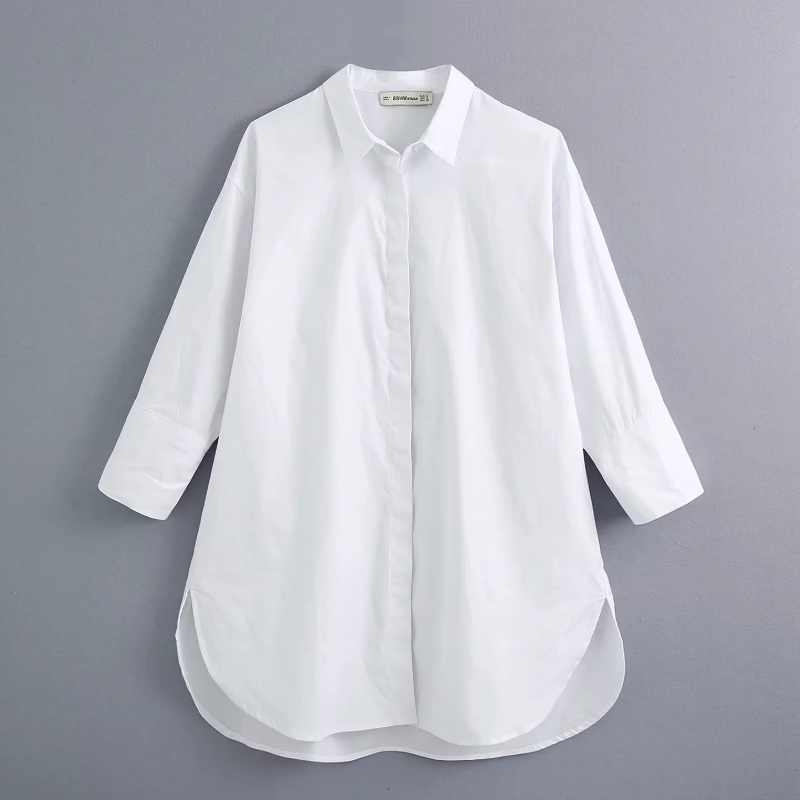New 2020 Women Simply Style Buttons Decoration Casual White Poplin Blouse Office Lady Side Split Shirts Chic Blusas Tops LS6562