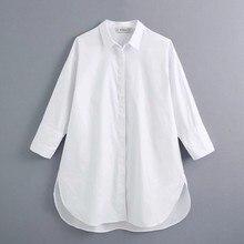 Nuevo 2021 las mujeres simplemente estilo botones casual decoración algodón blanco blusa de oficina lateral camisas chic blusas tops LS6562