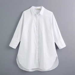 New 2021 women simply style buttons decoration casual white poplin blouse office lady side split shirts chic blusas tops LS6562