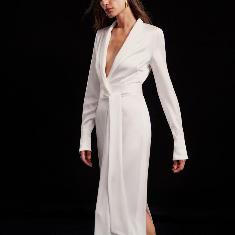 2020 New Women's Dress Acetate Satin White Long Temperament Split Fork Wrap Dress Long Sleeve Dress Women