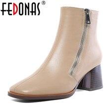 Fedonas couro genuíno tamanho grande botas de tornozelo feminino elegante escritório senhoras sapatos mulher lado zíper chelsea botas de salto alto sapatos