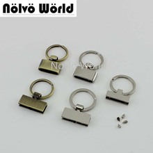 50pcs 5 colors 4 Styles Rainbow/Rose gold T shape Key Fob 24mm Split Key Rings,Key Fob Hardware keychain fob