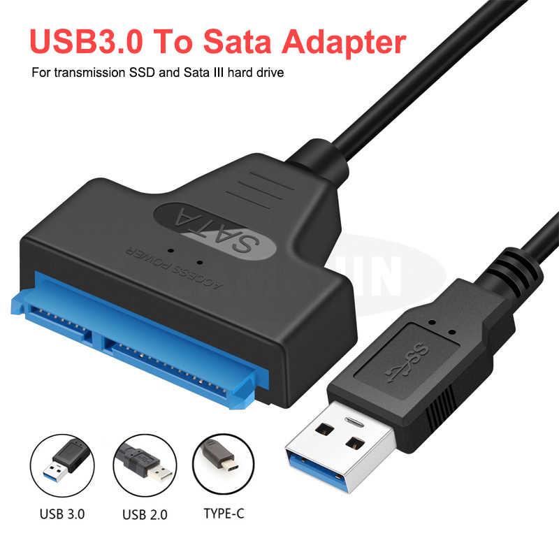 Cable USB Sata a USB 3,0, adaptador de 2,5 pulgadas, disco duro externo SSD HDD de 22 Pines, Cable Sata III, adaptador USB Sata 3,0