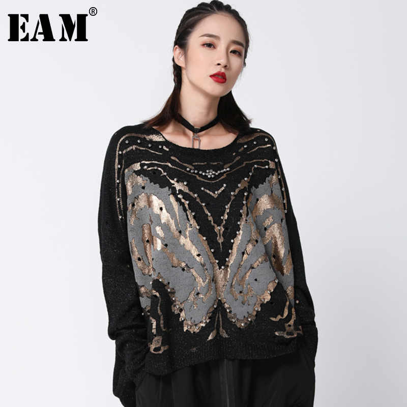 [EAM] 2019 New Spring Black Patchwork Oversize Loose Full Sleeve O Collar Pullover  Women Fashion Tide Beading Sweater OA872