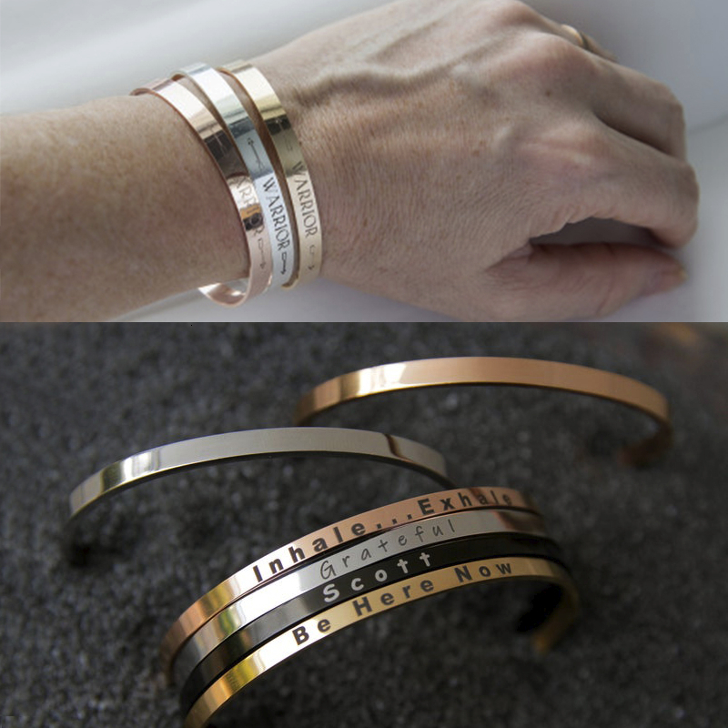 Vnox Personalize Bangle For Women Men Stainless Steel Simple Cuff Bracelets Unisex Classic Jewelry Custom BFF Gift