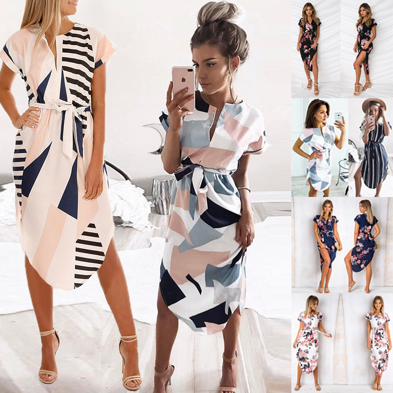Summer Plus Size Print Women Dress V Neck Short Sleeve Irregular Midi Dress Casual Tuniv Lace Up Sundress A Line Floral Vestidos