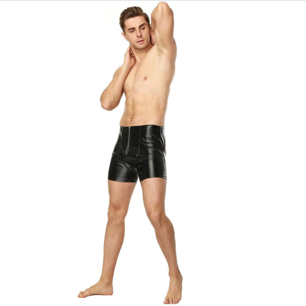 Erotic Black Gay Men Latex Pants Clubwear Sexy Lingerie Wetlook Skinny Patent Leather PU Long Leg Shorts