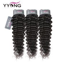 Yyong Hair 3 Bundle Deals Brazilian Deep Wave Hair Extensions 8 26 Inch Can Be Dyed 100% Remy Human Hair Weave Natural Color
