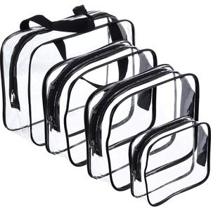 4 Pieces Make-up Bags Travel Toiletry Bag Organizers for Traveling, Business Trip and School, Water-Proof (Black + transparent)(China)