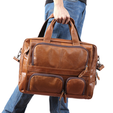 JOGUJOS Genuine Leather Men Briefcase Business Tote Laptop Handbag Shoulder Crossbody Bag Men's Handbags Travel