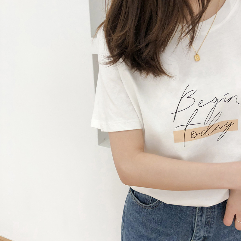 H8e4225d83ac44bd48807885ddc5bcb1bU - Letter Women T-Shirt O Neck Short Sleeve Loose Casual Pure Cotton Girls Spring Thick Pullovers Femme Fashion Clothings