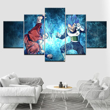 Wall Art Canvas Print Modern Poster Goku Super Saiyan Form Wallpaper 5 Piece Painting Modular Picture for Living Room Home Decor(China)