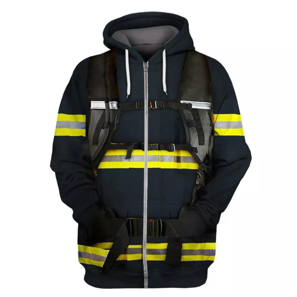 COLDKER Firefighter Suit Men/women Fire Clothing Hoodie Cosplay Unisex Fireman 3d Hoodies Casual Clothing Plus Size XS-7XL