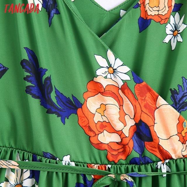 Tangada Women's Long Dress Flowers Print V Neck Strap Adjust Sleeveless 2021 Korean Fashion Lady Elegant Dresses CE310 3
