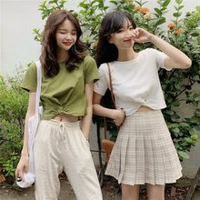 Photo Shoot Net Price 2019 Summer Reserved by Oneself 4-Color Knot Design Versatile Slim Fit Slimming Crew Neck Short T-shirt(China)