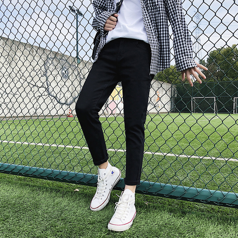 Jeans Men's Slim Fit Tight-Fit Black And White With Pattern Elasticity Skinny Pants Autumn Casual Long Pants Men Korean-style Tr
