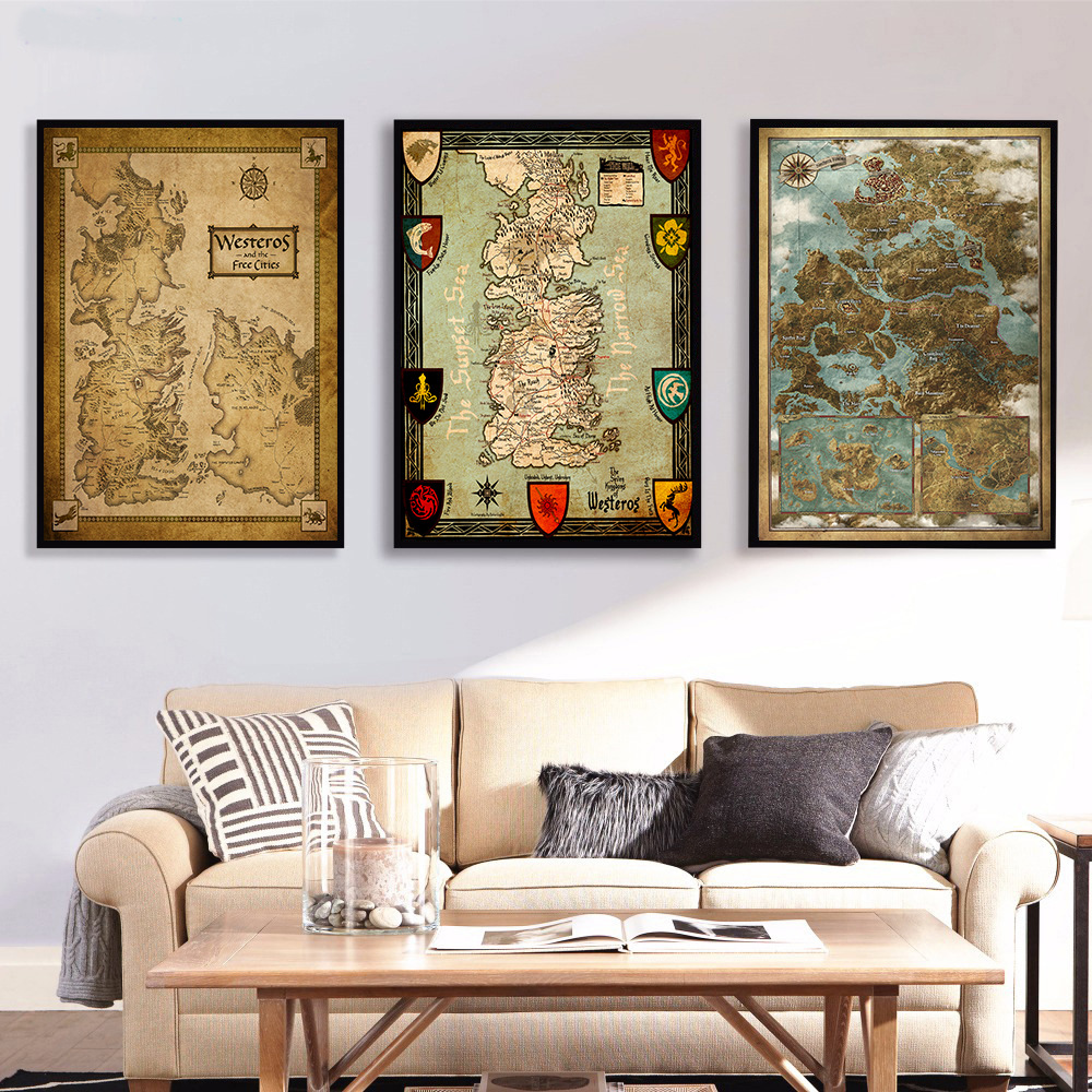 Middle Earth Vintage Map Poster Game Of Thrones The Lord of the Rings Movie Painting Picture Wall Art Home Decor for Living Room image