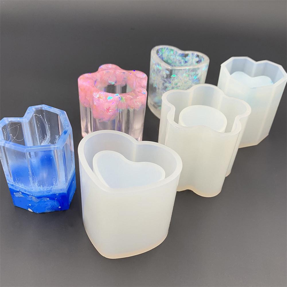 New Transparent Silicone Mould DIY Dried Flower Epoxy Resin Decor Craft Jewelry Pen Holder Molds Silicone Candle Mould Best Gift
