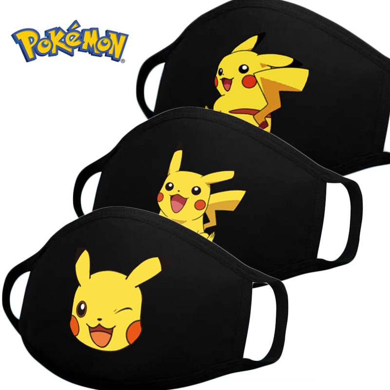 1PC Pikachu Cartoon Anime Pokemon Face Mouth Masks Children Reusable Washable Dust-proof Protection Kids Cosplay Masks Gifts