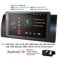 Ossuret 1Din Car NO DVD Player For BMW E39 X5 M5 E38 E53 Multimedia Radio Android 10 Quad Core 1080P 9'' IPS Screen BT WIFI DAB