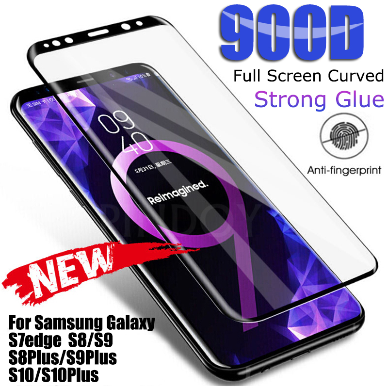 Cristal templado curvo completo 900D para Samsung S8 S9 S6 Edge 10 Plus, cristal Protector para Samsung Note 8 9 S7 Edge, Protector de pantalla