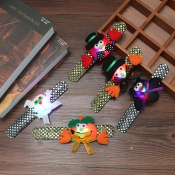 Random Color Glow Bangle Party Halloween Cartoon Pumpkin Led Hand Pat Party Gift Clap Bracelet Kids Lighted Toys Ring Decor O8O3 image