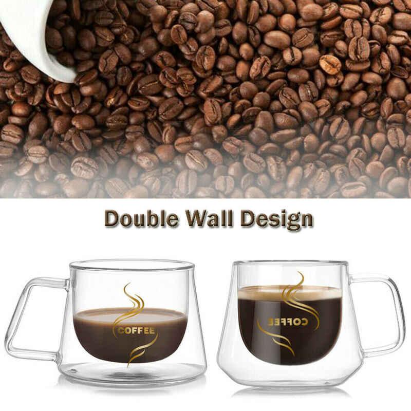 Double Wall Mug Kantor Mug dengan Pegangan Transparan Air Minum Kopi Cangkir Teh Set Mug Bir Minuman Kantor Piala Sederhana gaya
