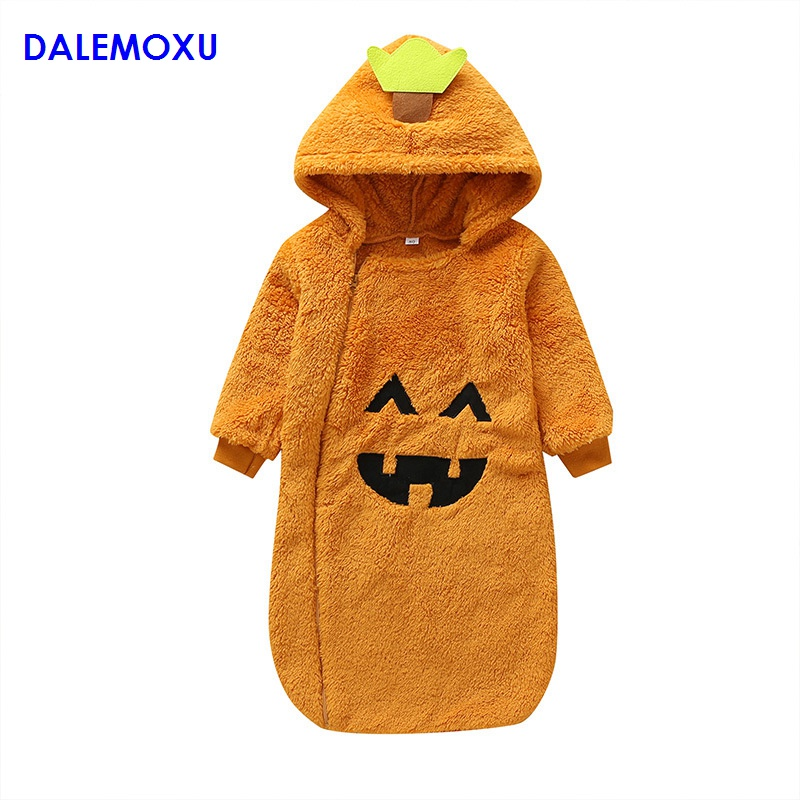 Winter Baby Sleeping Bag Pumpkin Halloween Newborn Velvet Zipper Long Sleeve Hooded Swaddle Blanket Wrap Sleeping Bag 3-18M