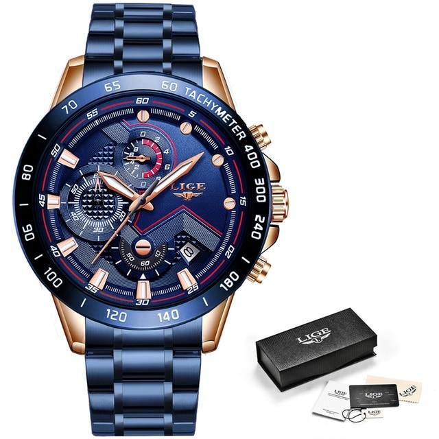 New Fashion Stainless Steel Top Brand Luxury Sports Quartz Watch 5