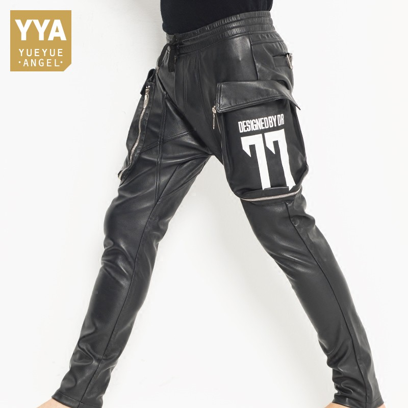 New Fashion Mens Casual Big Pockets Elastic Waist Joggers Harem Pants Sheepskin Genuine Leather Pants Drop Crotch Cross Pants 35