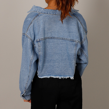 Autumn Women Denim Cropped Jacket Female Pockets Hole Short Jean Jackets Ladies 2020 New Fashion Button Casual Solid Coats