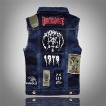Mens Denim Vests Casual Streetwear Patch Designs Outwear Vintage Personality Waistcoat Korean Style Biker Sleeveless Man Jackets(China)