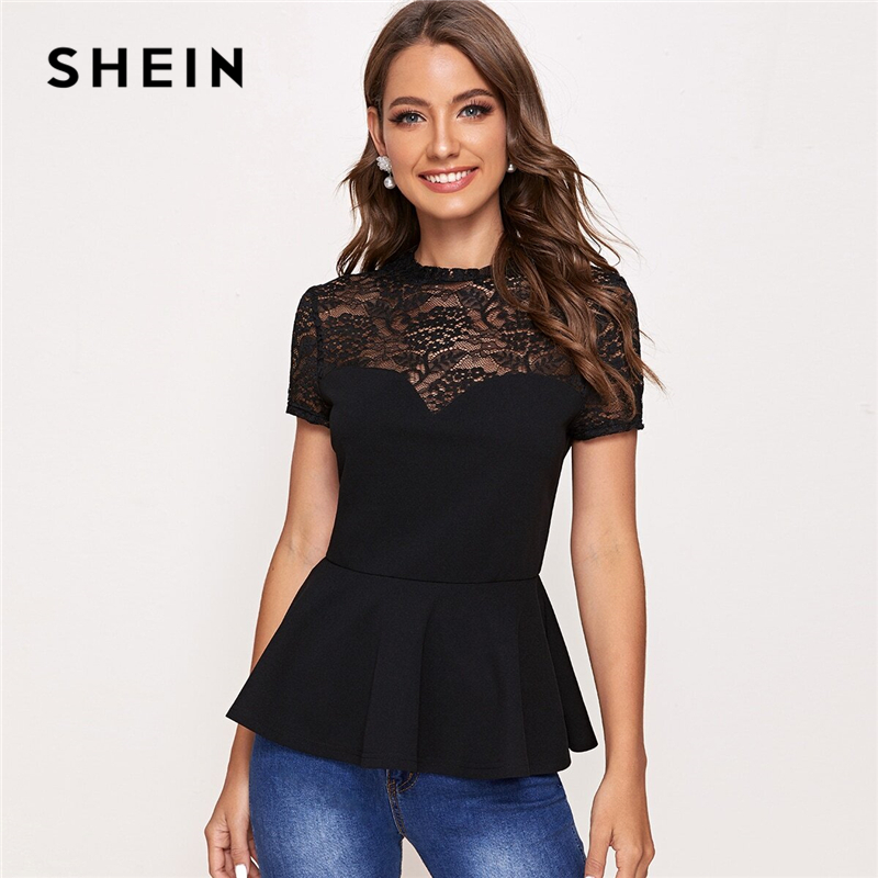 SHEIN Black Lace Yoke Peplum Top Blouse Women Summer Flare Hem Short Sleeve Solid 2020 Womens Elegant Tops and Blouses(China)