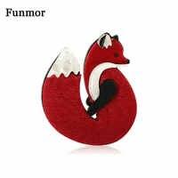 Funmor Fuchs Tier Broschen Pins Acryl Schmuck Frauen Mädchen Routine Versammlung Zubehör Mantel Strickjacken Dekoration Ornamente
