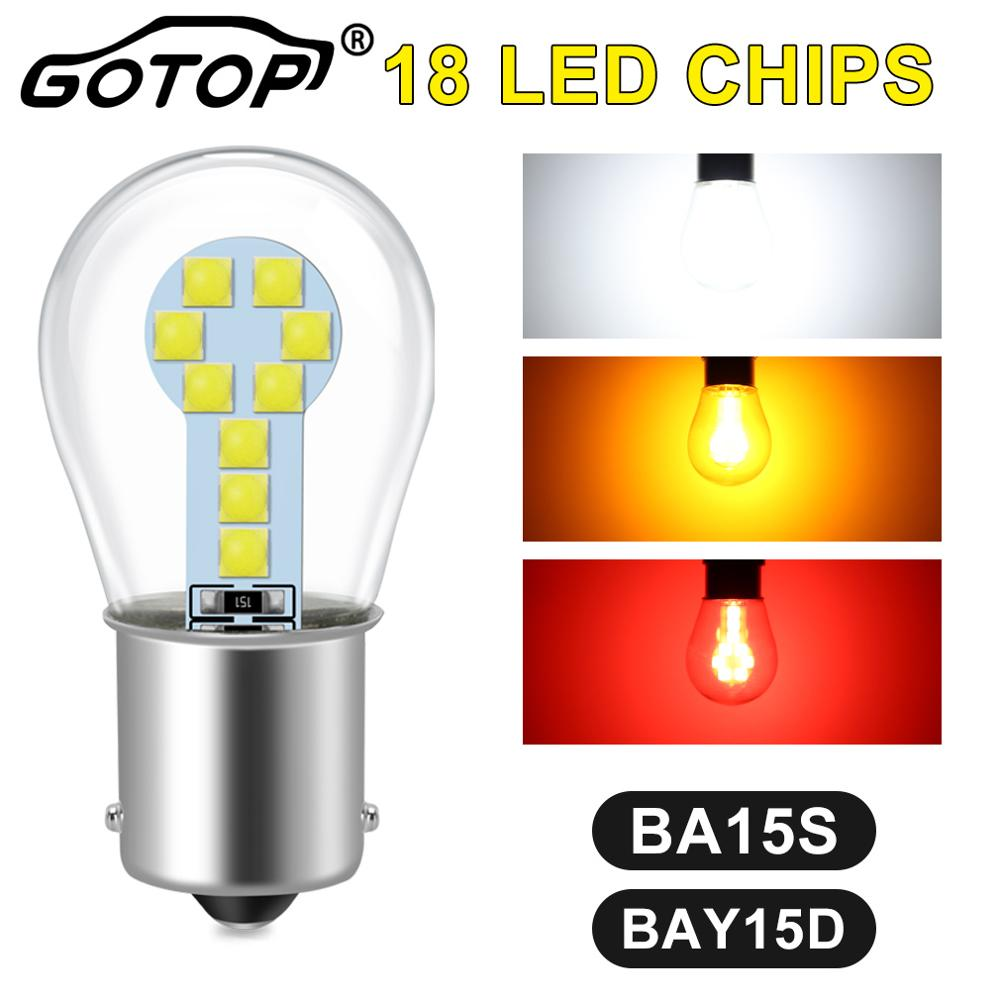 1pcs BA15S P21W 1156 Led Bulb 1157 BAY15D P21/5W R5W R10W Car Brake Lights 18SMD 3030 Chips DRL Turn Signal Lamp Super Bright