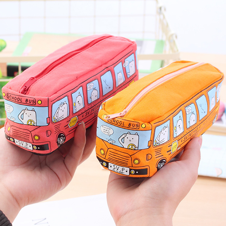 School Bus Cute Pencil Case Large Canvas Pencil Box Pencilcase Kawaii Pensil Case For Boys Girls Estuche Escolar Pennenbakje