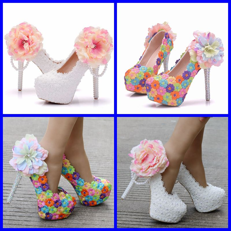Crystal Queen White Flower Lace Wedding Shoes Lace-Up High Shoes High Heels Platform Shoes Woman Party Dress Shoes Pumps