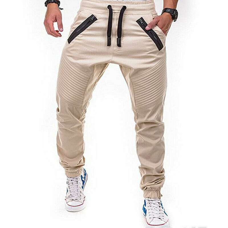 Fashion Mens Slim Fit Zip Pocket Tracksuit Sport Gym Skinny Jogging Joggers Sweat Pants Solid Casual Trousers Autumn