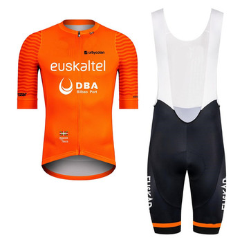 цена на 2020 Euskaltel Pro Team mens Orange short sleeve bib Cycling set Maillot Cycling set bike jersey bib shorts set Ropa ciclismo