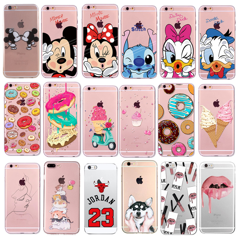 Phone Case For Fundas <font><b>iPhone</b></font> 7 8 Plus XS X Transparent Cute Cartoon Soft Cover For Apple <font><b>iPhone</b></font> X 6 <font><b>6S</b></font> 5S 5 SE Silicone <font><b>Coque</b></font> image