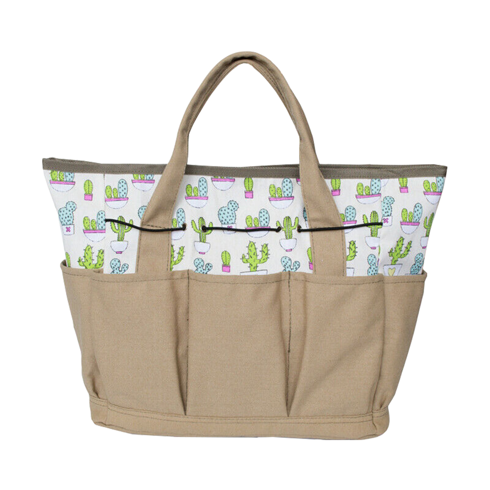 Flower Shovel Portable Outdoor Garden Tool Bag Accessory Durable Screwdrivers Multi Pockets Canvas With Handle Cactus Printed