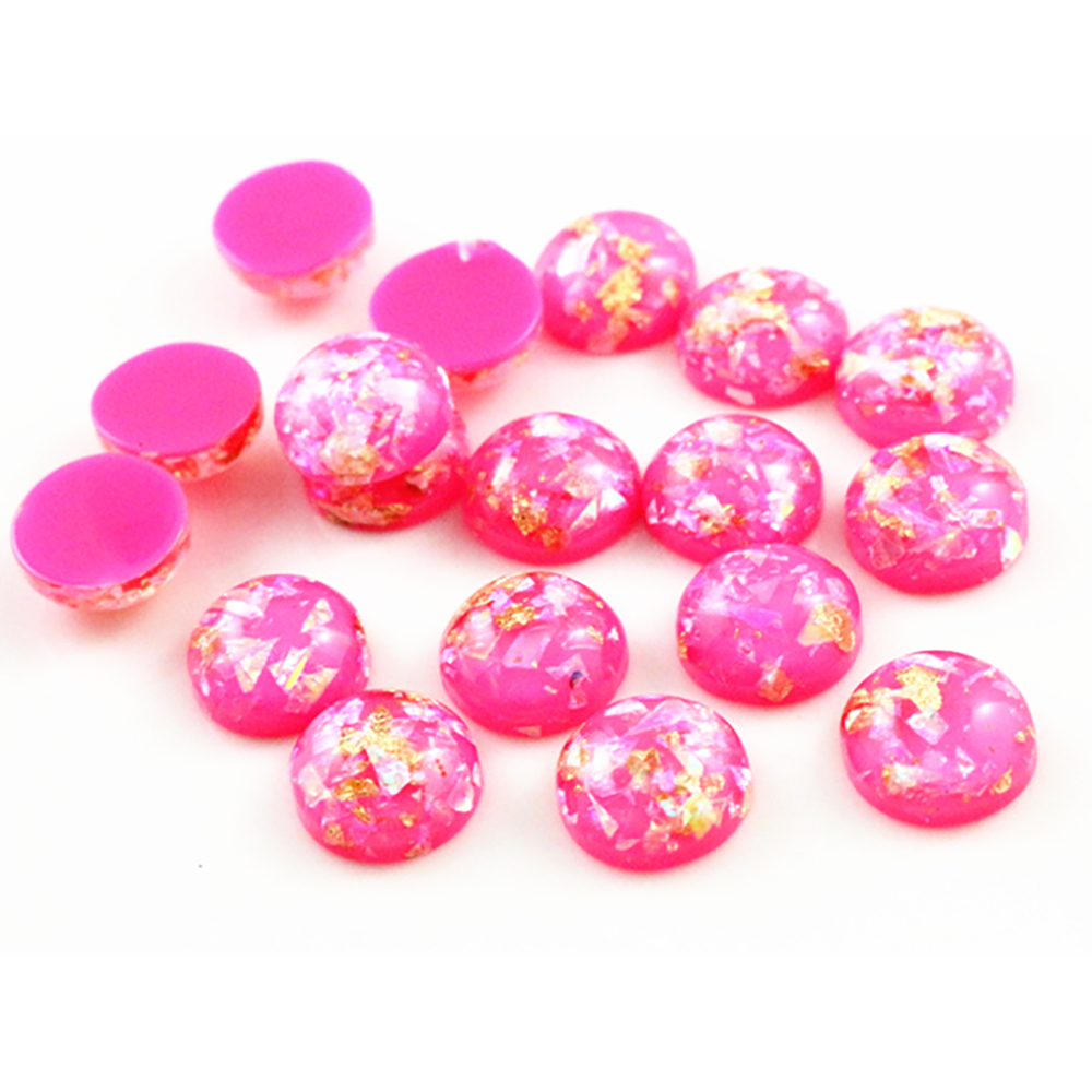 New Fashion 40pcs 8mm 10mm 12mm Rose Red Colors Built-in Metal Foil Flat Back Resin Cabochons Cameo