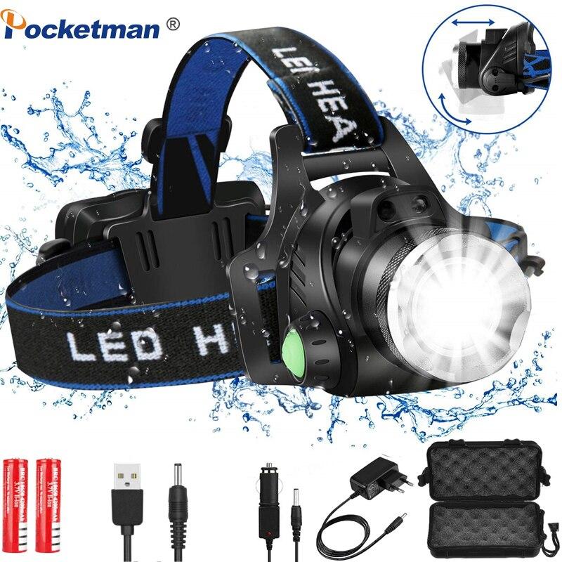 Far 6000 lümen Led far L2/T6 zumlanabilir far baş feneri el feneri kafa lambası 18650 pil ile balıkçılık avcılık için